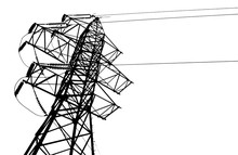 Vector Silhouette Of High Voltage Electric Line On A White Background.