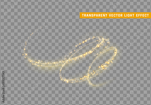 Magic light effect. Stardust golden glitter. Sparkle star dust vector illustration.