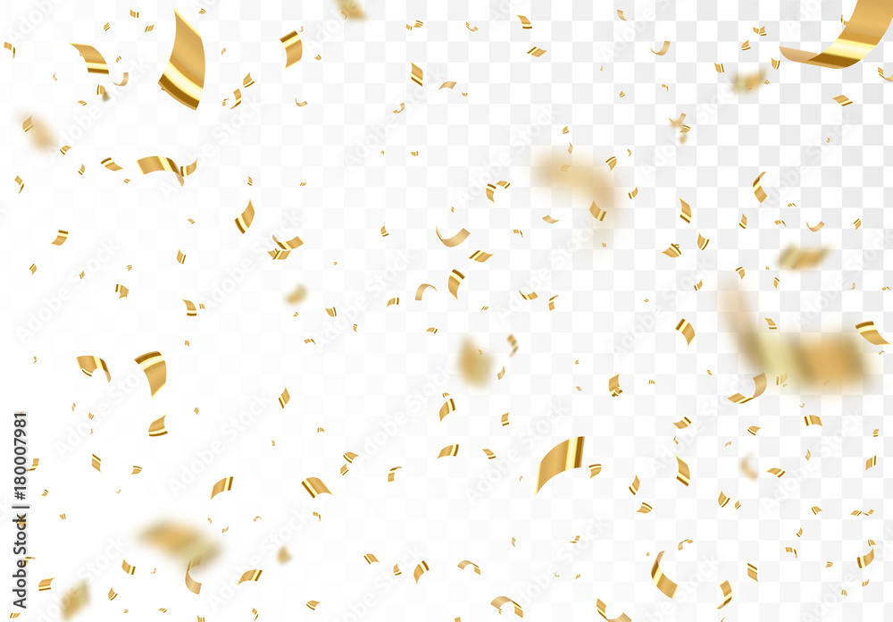 Fototapety, obrazy: Falling shiny golden confetti isolated on transparent background. Bright festive tinsel of gold color.