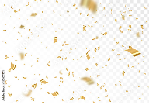 Obraz Falling shiny golden confetti isolated on transparent background. Bright festive tinsel of gold color. - fototapety do salonu