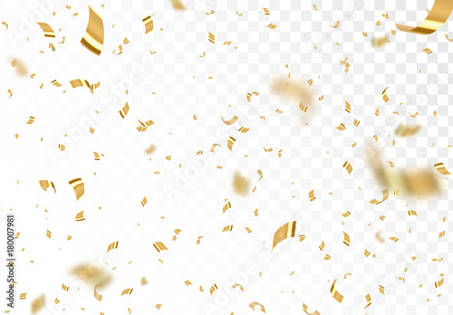 Papel de parede Falling shiny golden confetti isolated on transparent background