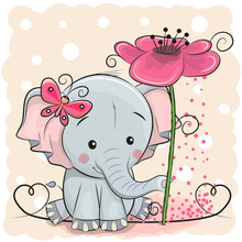 Greeting Card Elephant With Fl...