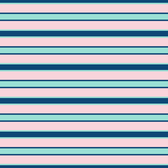 Horizontal stripes vector seamless pattern. Modern texture in trendy colors, rose pink, navy blue and mint green. Abstract fashionable striped background with thin parallel lines. Stylish design