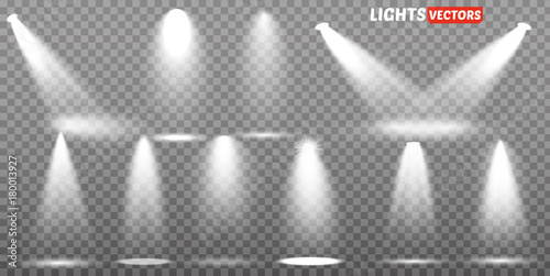 Photo Stands Light, shadow Scene illumination collection, transparent effects. Bright lighting with spotlights.