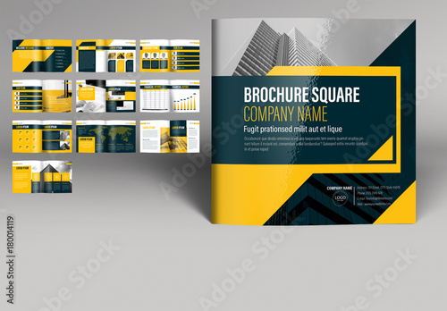 Yellow And Gray Square Brochure Layout