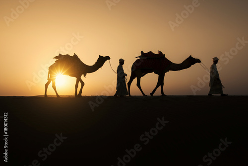 Fotografering  Rajasthan travel background - two indian cameleers (camel drivers) with camels silhouettes in dunes of Thar desert on sunset