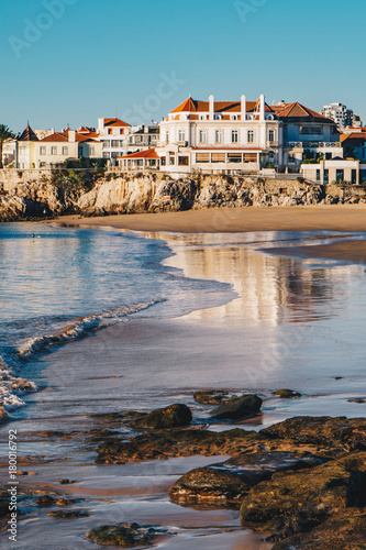 Fotografie, Obraz  Cascais, Portugal beach in the morning with no tourists on the beach