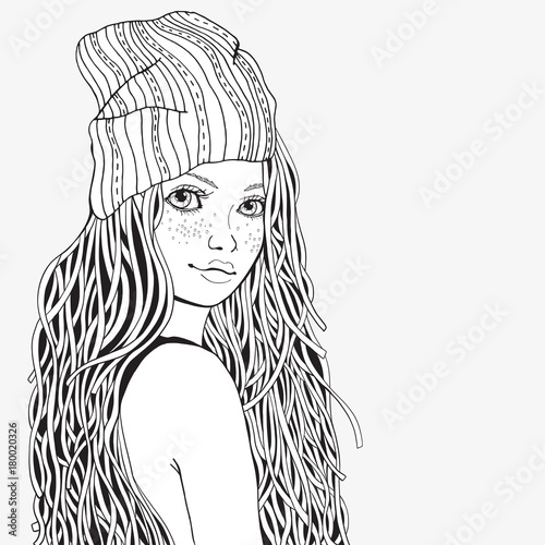 Cute girl. Coloring book page for adult. Black and white ...