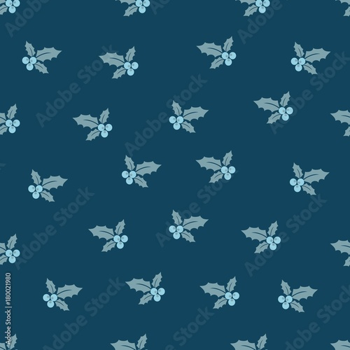 Cotton fabric Merry Christmas and a Happy New Year! A set of seamless backgrounds with traditional symbols: holly berry and candy branches. Vector illustration.