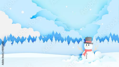 Printed kitchen splashbacks Light blue Snowman and Winter landscape with paper art style and pastel color scheme