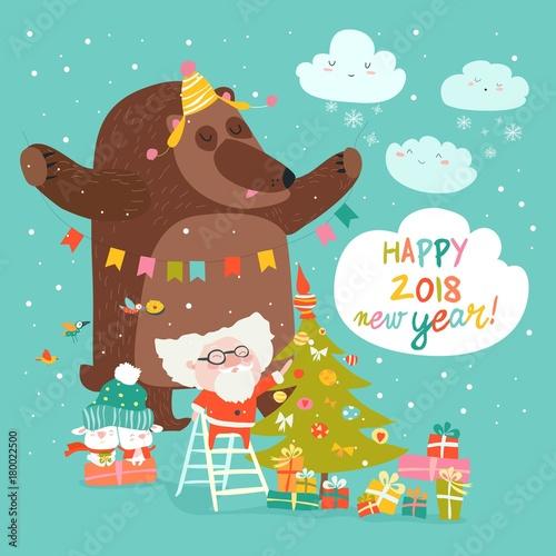 Christmas card with Santa Claus and bear