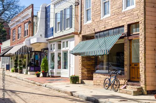 Fotografie, Obraz  Traditional American Stores along a Cobblestone Street