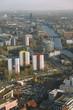 Paysage urbain et fleuve à Berlin, vue aérienne