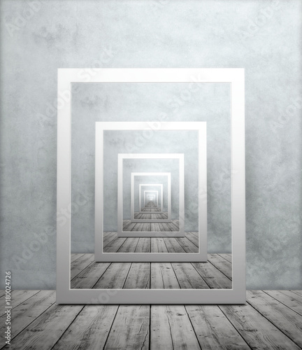 Fotografia  Endless repeating image of picture frame in room with wooden floor and textured