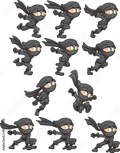 Cartoon ninja ready for animation Wallpaper Mural