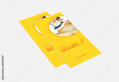 Tri Fold Brochure Layout With Yellow Background Buy This Stock