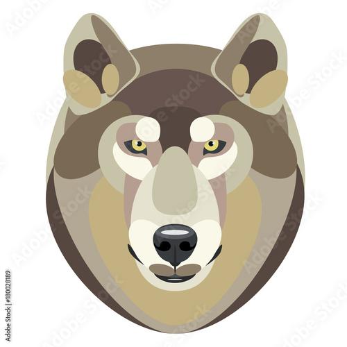 Fotobehang Boerderij vector illustration of a head of wolf on white background