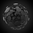 Black hexagon sphere burst background