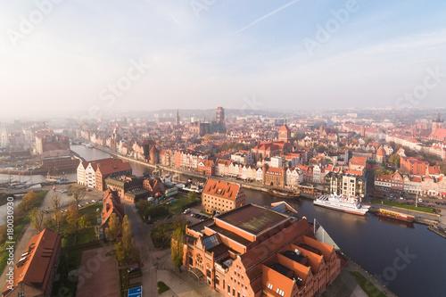 Plakat Stare Miasto w Gdańsku, widok z góry