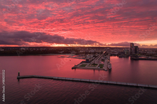Tuinposter Crimson Port of Gdynia at sunset, top view