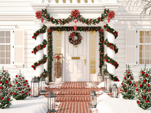 Christmas Decorated Porch With...
