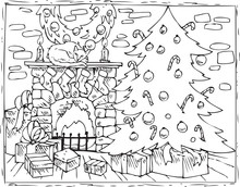Coloring Book Christmas Tree, Fireplace And Gifts