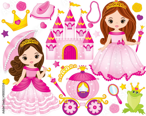 Fototapeta Vector Set of Beautiful Princesses and Fairytale Elements