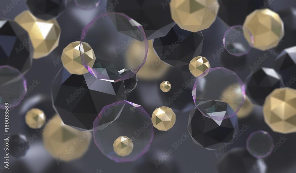 Streszczenie tło z geometrycznym kształtem z trójkątne twarze. Chaotyczna kompozycja elementów low poly. 3d render obraz.