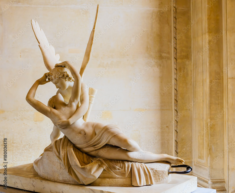 Fototapety, obrazy: Psyche revived by the kiss of Love, Antonio Canova, 18th century marble, Louvre Museum, Paris, France,