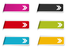 The Collection Of Labels With Arrow Pictogram