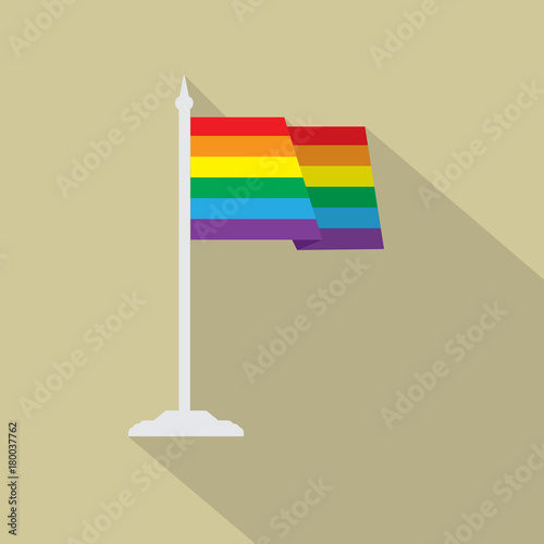Gay pride LGBT flag with flagpole flat icon with long shadow Poster