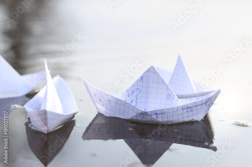 Origami Paper Ships Sailing In River Paper Boats Made From