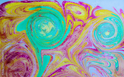 Abstract blue and pink pattern  Paper marbling in traditional
