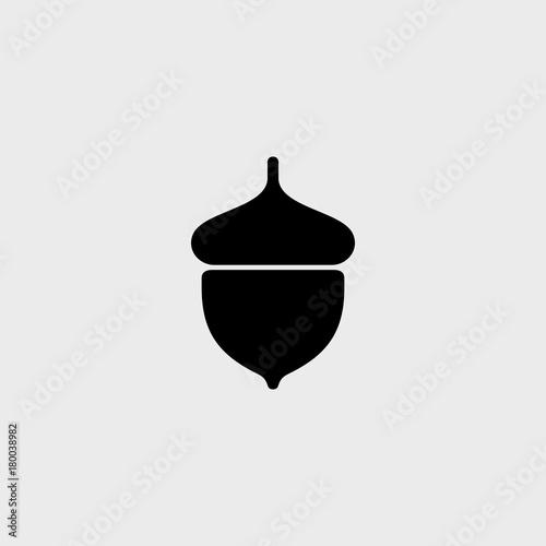 Photo Acorn flat vector icon of logo. Vector illustration of an acorn