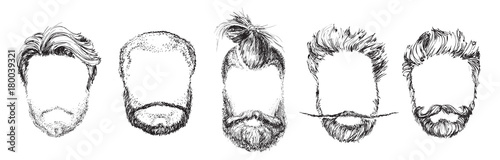 Cuadros en Lienzo Hair and Beards, Fashion Vector Illustration Set