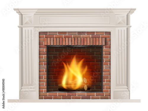 Cuadros en Lienzo Classic fireplace with pilasters and a furnace with red brick inside