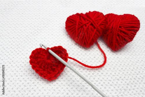A Handmade Crocheted Wool Organic Red Heart Old Metal Crocheting