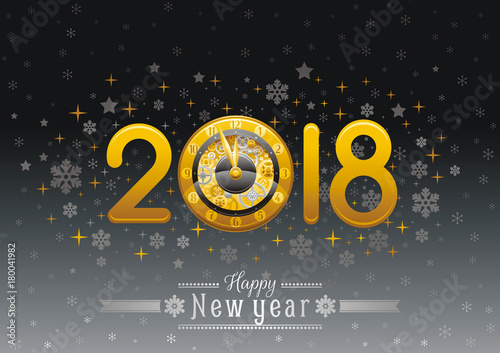 Happy New Year 2018 Silver Golden Logo Icon Vector Poster With