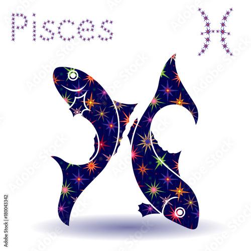 Vászonkép Zodiac sign Pisces stencil