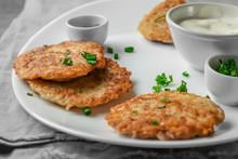 Plate With Hanukkah Potato Pancakes On Table, Closeup