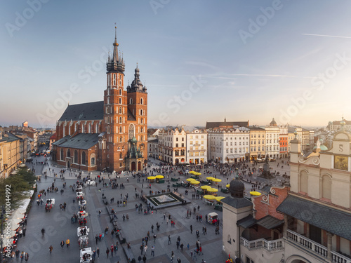 Fototapeta Old city center view in Krakow, aerial drone photography at sunset time, famous cathedral in evening light obraz