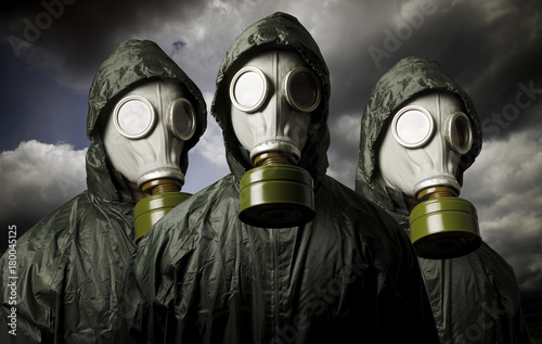Three gas masks. Survival theme. Poster