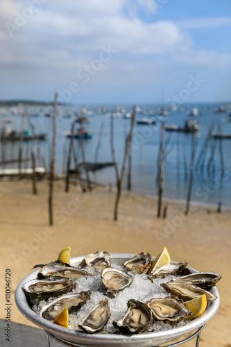 Douzaine d'huîtres et bord de mer bassin d'arcachon