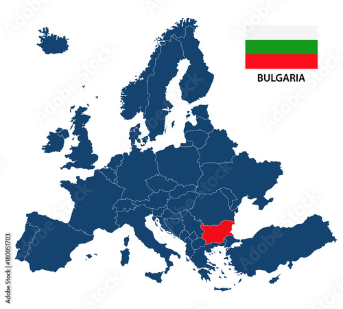 Photo Vector illustration of a map of Europe with highlighted Bulgaria and Bulgarian f