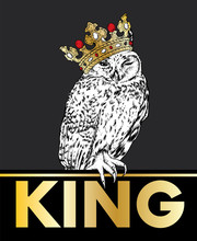 Beautiful Owl Wearing A Crown. Vector Illustration For A Postcard Or A Poster.