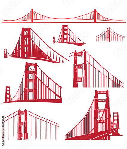 Golden Gate Bridge Vector Illustration Pack фототапет