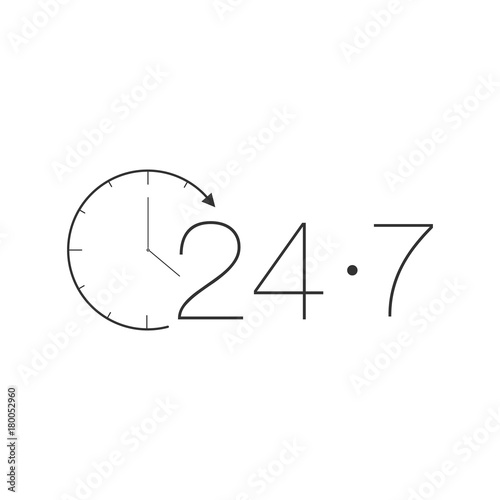 Fényképezés  Customer Service 365-7-24 label black on white