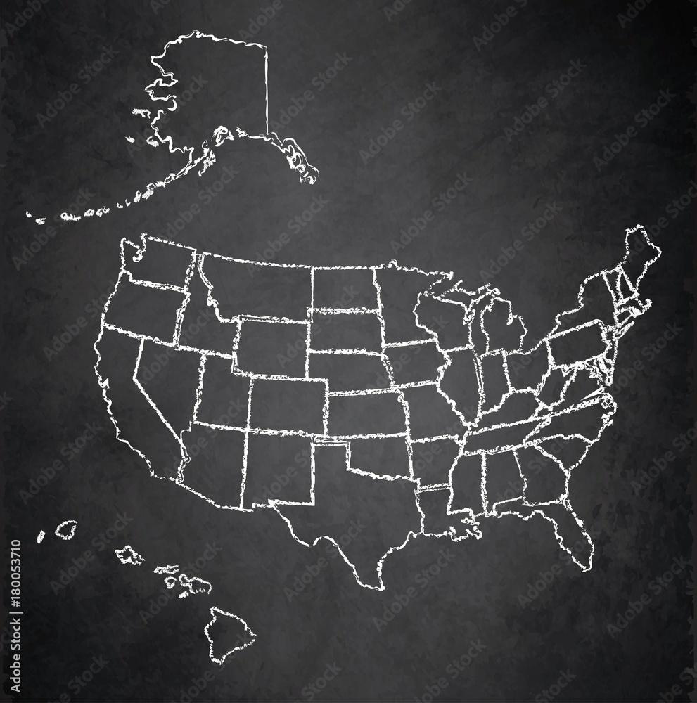USA map with Alaska and Hawaii, separate states individual ...