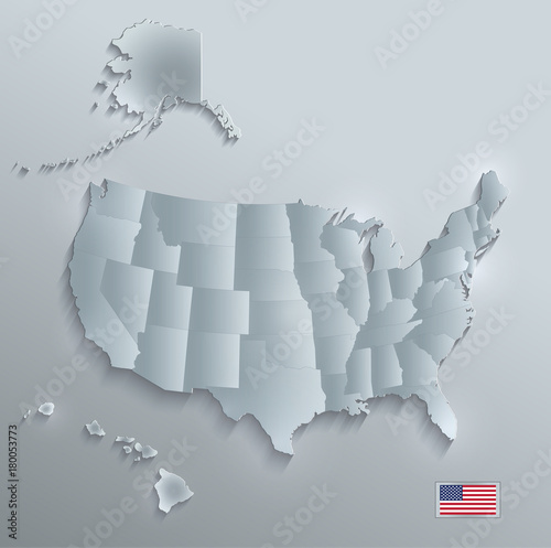USA map with Alaska and Hawaii, separate states individual, glass ...