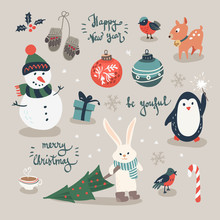 Christmas Cards With Mittens, Snowflakes And Christmas Toys, Penguin In Winter Cap, Christmas Crackers And Forest Animals In Cartoon Style